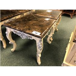 PAIR OF MARBLE TOP END TABLES.  RETAIL $1,500.00 EACH