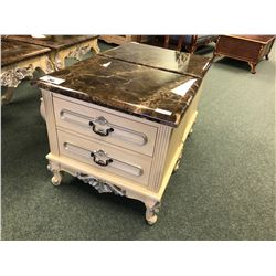 PAIR OF MARBLE TOP NIGHT STANDS.  RETAIL $2,000.00 EACH