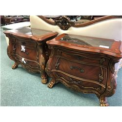 PAIR OF INLAYED FORMAL NIGHT STANDS.  RETAIL $2,150.00 EACH