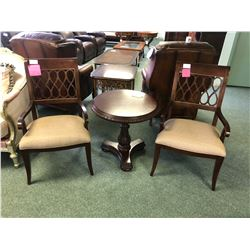 SOLID WOOD ROUND PEDESTAL TABLE WITH 2 SIDE CHAIRS.  APPROXIMATE RETAIL $3,900.00