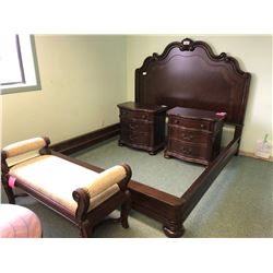 PULASKI 5 PC. KING BEDROOM SUITE INC.: KING HEADBOARD AND FOOTBOARD, RAILS, 2 NIGHT STANDS, AND