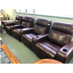 BROWN LEATHER 4 SEAT POWER RECLINING THEATRE STYLE SOFA.  APPROXIMATE RETAIL $11,000.00