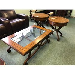 SCHNADIG 3 PC INLAYED COFFEE TABLE SET INC. COFFEE TABLE AND 2 END TABLES.