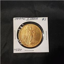 1908 $20 Gold Eagle St. Gaudens WM  MS63+
