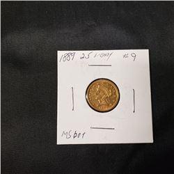 1889 2.5 Liberty Head  Gold Coin
