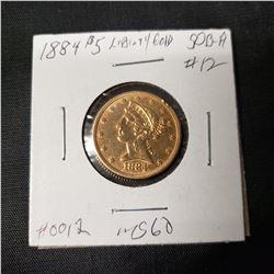 1884 5 Liberty Gold