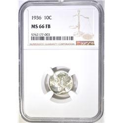 1936 MERCURY DIME, NGC MS-66 FB
