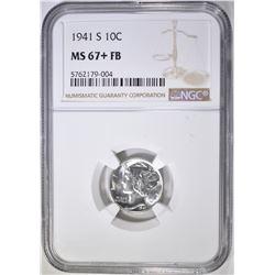 1941-S MERCURY DIME, NGC MS-67+ FB