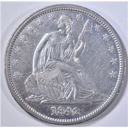 1842 SEATED LIBERTY HALF DOLLAR AU