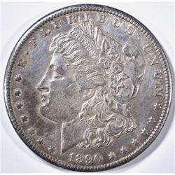"1890-CC ""TAILBAR"" MORGAN DOLLAR AU/BU TONED"