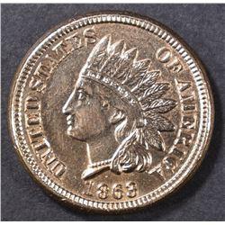 1863 INDIAN CENT  CH/GEM BU