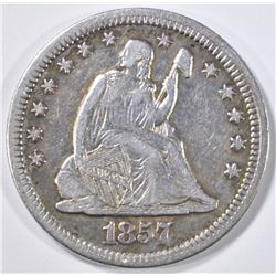1857 SEATED LIBERTY QUARTER  XF/AU