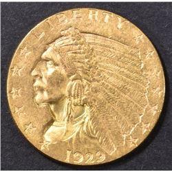 1929 $2.5 GOLD INDIAN  CH BU