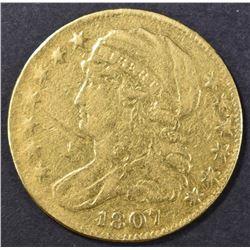 1807 $5 GOLD BUST LEFT  VF