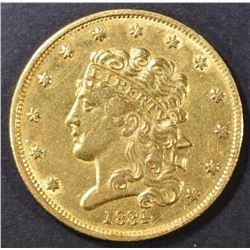 1834 $5 GOLD CLASSIC HEAD  AU/UNC
