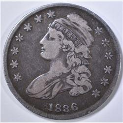 1836 CAPPED BUST HALF DOLLAR VG/F