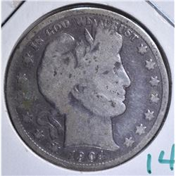 1904-S BARBER HALF DOLLAR  GOOD