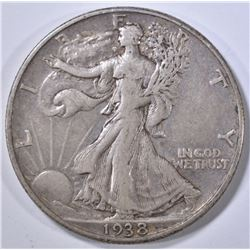 1938-D WALKING LIBERTY HALF DOLLAR  F/XF