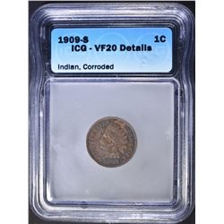 1909-S INDIAN CENT  ICG VF-20 DETAILS