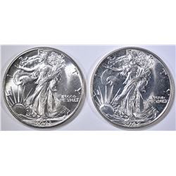1942 & 43 WALKING LIBERTY HALF DOLLARS  GEM BU