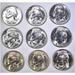 3-EACH 1945-P-D&S JEFFERSON SILVER  WAR  NICKELS
