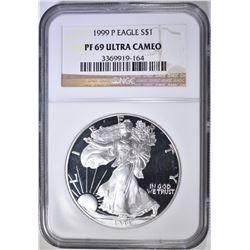 1999 AMERICAN SILVER EAGLE, NGC PF-69 ULTRA CAMEO