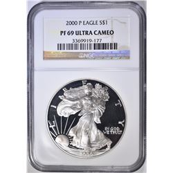 2000 AMERICAN SILVER EAGLE, NGC PF-69 ULTRA CAMEO