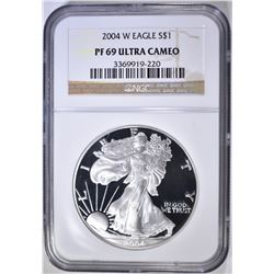 2004-W AMERICAN SILVER EAGLE NGC PF-69 ULTRA CAMEO