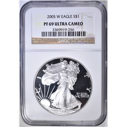 2005-W AMERICAN SILVER EAGLE NGC PF-69 ULTRA CAMEO