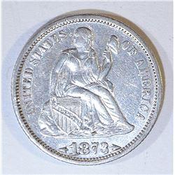 1873 SEATED LIBERTY DIME  XF/AU