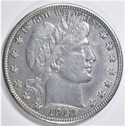 1912-D BARBER HALF DOLLAR  AU/BU