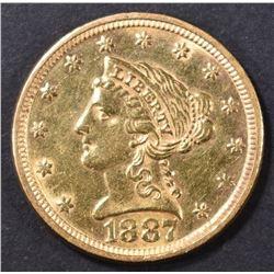 1887 $2.5 GOLD LIBERTY BU CLEANED