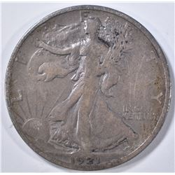 1921-S WALKING LIBERTY HALF DOLLAR, VF+  SCARCE!!!