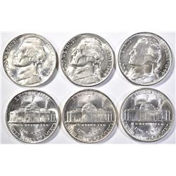 6-GEM BU 1944-P JEFFERSON SILVER NICKELS