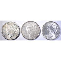 1922-P-D-S PEACE DOLLARS, CH BU