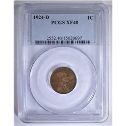 1924-D LINCOLN CENT PCGS XF-40