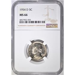 1954-D JEFFERSON NICKEL NGC MS-66