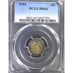 1914 BARBER DIME, PCGS MS-64