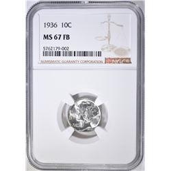 1936 MERCURY DIME, NGC MS-67 FB