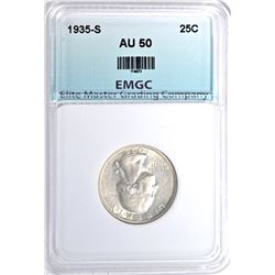 1935-S WASHINGTON QUARTER, EMGC AU