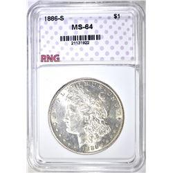 1886-S MORGAN DOLLAR, RNG CH/GEM BU