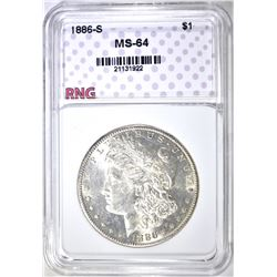 1886-S MORGAN DOLLAR, RNG CH/GEM BU