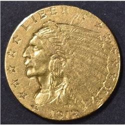 1912 $2.50 GOLD INDIAN, XF