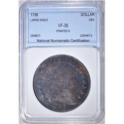 1798 BUST DOLLAR POINTED 9  NNC VF