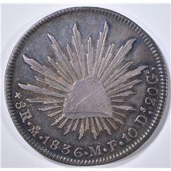 1836 MO SILVER 8 REALES MEXICO