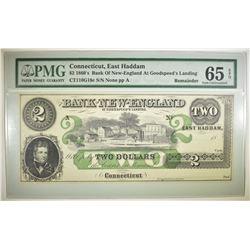 1860'S $2 BANK OF NEW ENGLAND  CT. PMG 65 EPQ