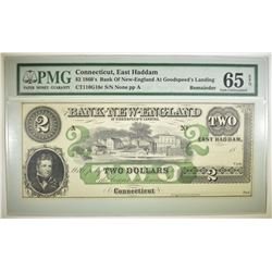 1860'S $2 BANK OF NEW ENGLAND  CT. PMG 65 EPQ