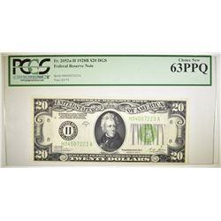 1928B $20 DGS FEDERAL RESERVE NOTE  PCGS 63 PPQ