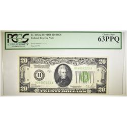 1928B $20 DGS FEDERAL RESERVE NOTE  PCGS 63 PPQ