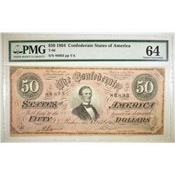 1864 $50 CONFEDERATE STATES OF AMERICA PMG 64